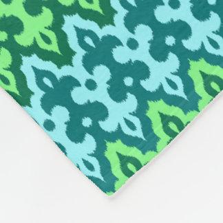 Moroccan Ikat Damask, Turquoise & Jade Green Fleece Blanket
