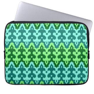 Moroccan Ikat Damask, Turquoise & Jade Green Laptop Computer Sleeve