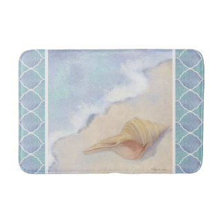 Moroccan Lantern Tile Beach Ocean Seashell Blue Bath Mat