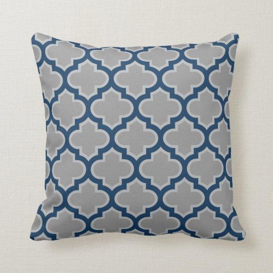 Moroccan Lattice Grey and Navy Blue Pattern Cushion