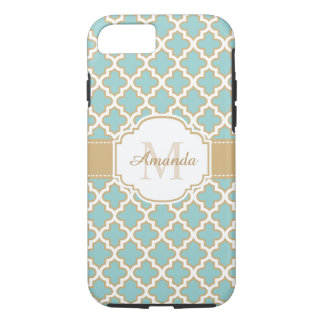 Moroccan Lattice Monogram Elegant Gold Teal Blue iPhone 8/7 Case