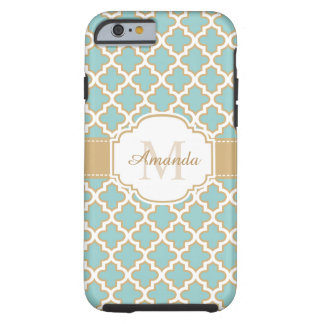 Moroccan Lattice Monogram Elegant Gold Teal Blue Tough iPhone 6 Case