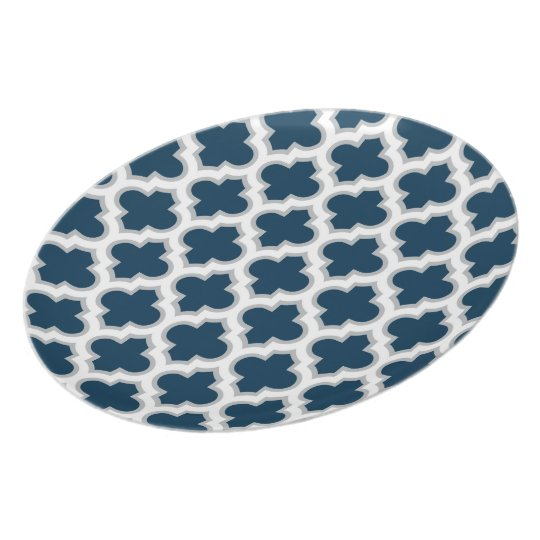 Moroccan Lattice Navy Blue and Grey Melamine Plate