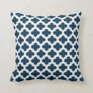 Moroccan Lattice Navy Blue Gray White Pattern Throw Pillow