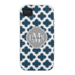 Moroccan Lattice Navy Blue Gray White Personalized Vibe iPhone 4 Cases