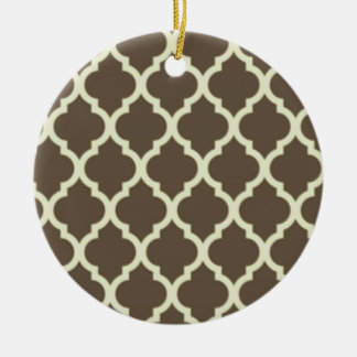 Moroccan Lattice Pattern Brown & white Christmas Ornament