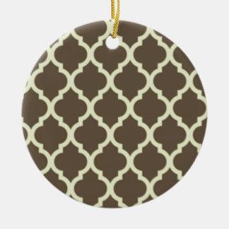 Moroccan Lattice Pattern Brown & white Round Ceramic Decoration