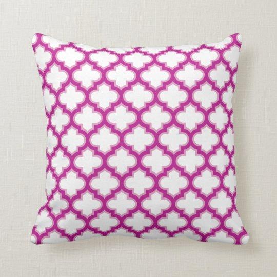 Moroccan Lattice Raspberry Pink White Pattern Cushion