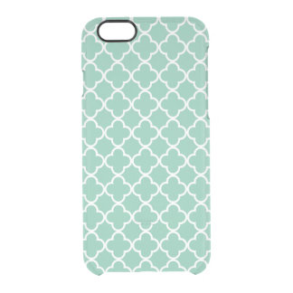 Moroccan Mint Green & White Quatrefoil Pattern Clear iPhone 6/6S Case