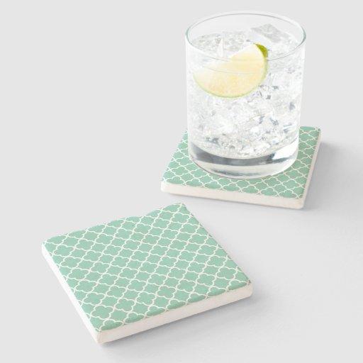 Moroccan Mint Green & White Quatrefoil Pattern Stone Coaster