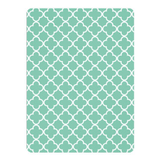 Moroccan Mint Green & White Quatrefoil Pattern Invitations
