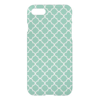 Moroccan Mint Green & White Quatrefoil Pattern iPhone 7 Case