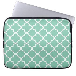 Moroccan Mint Green & White Quatrefoil Pattern Laptop Sleeve