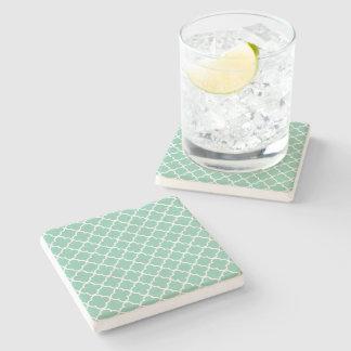Moroccan Mint Green & White Quatrefoil Pattern Stone Beverage Coaster