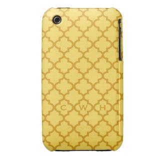 Moroccan mustard yellow tile design 3 monogram Case-Mate iPhone 3 cases