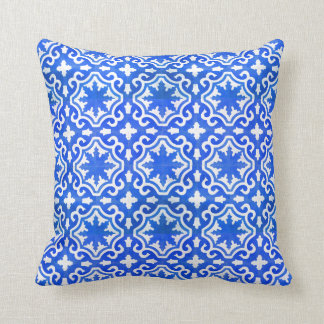 Moroccan Ocean Blue tile pattern Throw Pillow