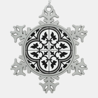 Moroccan Ornamental Tile Pattern Snowflake Pewter Christmas Ornament