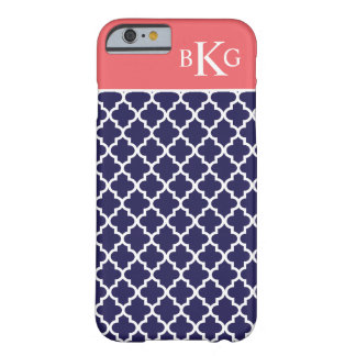 Moroccan Pattern & Monogram | Navy Coral Pink Barely There iPhone 6 Case