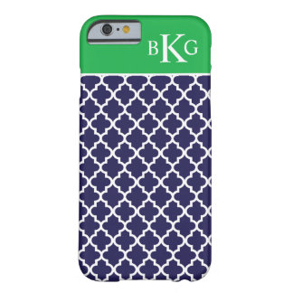 Moroccan Pattern & Monogram | Navy Kelly Green Barely There iPhone 6 Case