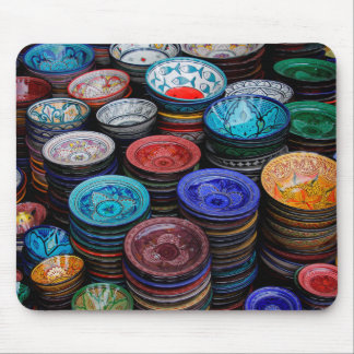 Moroccan Plates At Market Mouse Mat