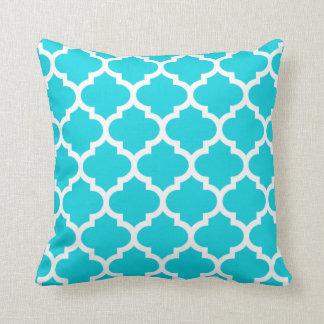 Moroccan Quatrefoil Aqua Pillow