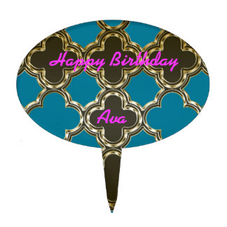 Moroccan Quatrefoil Metallic Gold Blue Design Cake Picks