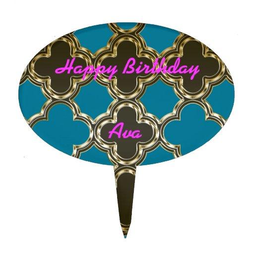Moroccan Quatrefoil Metallic Gold Blue Design Cake Toppers