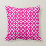 Moroccan Quatrefoil Pattern Hot Pink Cushion