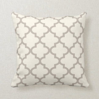 Moroccan Quatrefoil Pattern | Ivory and Taupe Cushion