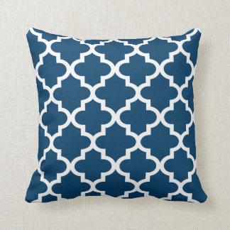 Moroccan Quatrefoil Pattern | Navy Blue Throw Cushion