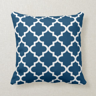 Moroccan Quatrefoil Pattern | Navy Blue Throw Pillow