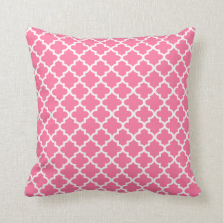 Moroccan Quatrefoil Pattern Pillow | Bright Pink Throw Cushions