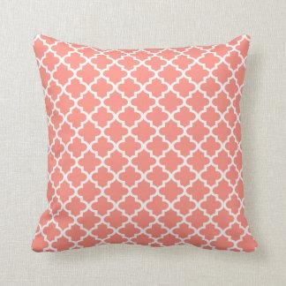 Moroccan Quatrefoil Pattern Pillow | Coral Pink