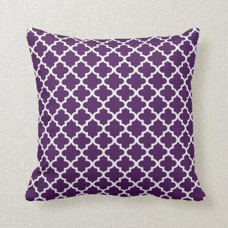 Moroccan Quatrefoil Pattern Pillow | Dark Purple