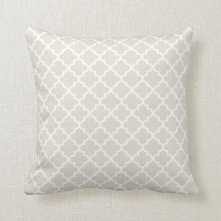 Moroccan Quatrefoil Pattern Pillow | Neutral Beige