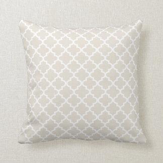 Moroccan Quatrefoil Pattern Pillow | Neutral Beige Throw Cushions
