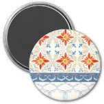 Moroccan Quatrefoil Tile Floral Pattern Watercolor 7.5 Cm Round Magnet