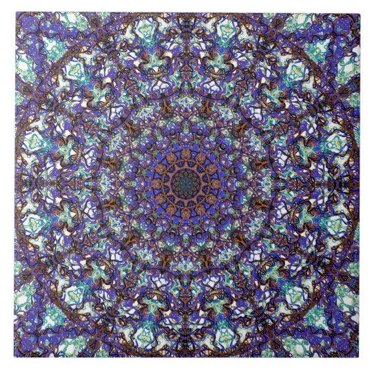 Moroccan romantic coloured mandala pattern large square tile