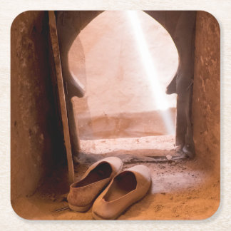 Moroccan Shoes At Window Square Paper Coaster