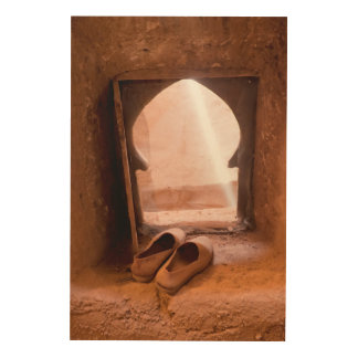 Moroccan Shoes At Window Wood Print