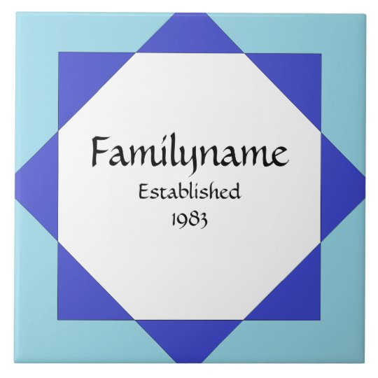 Moroccan Star Blue Family Name Sign Tile