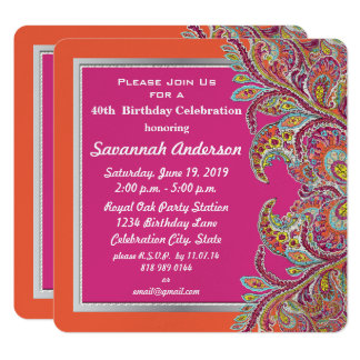 Moroccan Tangerine & Fuchsia 40th Birthday Party Card
