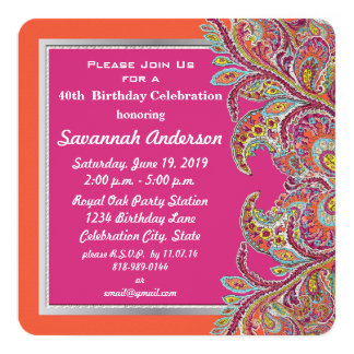 Moroccan Tangerine & Fuchsia 40th Birthday Party Personalized Announcements