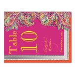 Moroccan Tangerine & Fuchsia Wedding Table Number