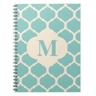 Moroccan Teal Monogram Notebook