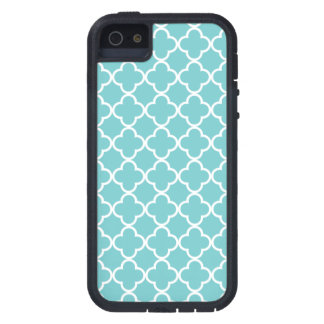 Moroccan Teal White Quatrefoil Pattern Case For The iPhone 5