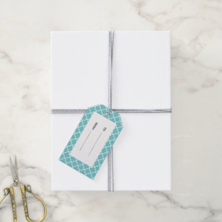 Moroccan Teal White Quatrefoil Pattern Gift Tags
