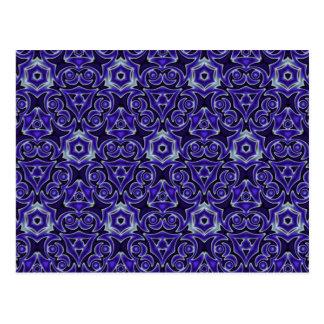 Moroccan Textile Pattern Blue Postcard