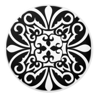 Moroccan tile - black with white background ceramic knob