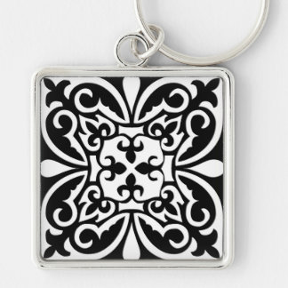 Moroccan tile - black with white background key chain